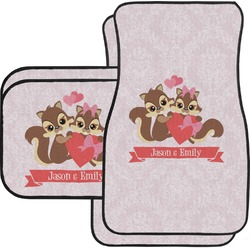 Chipmunk Couple Car Floor Mats Set - 2 Front & 2 Back (Personalized)