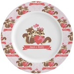 Raccoon Couple Ceramic Dinner Plates (Set of 4) (Personalized)