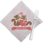 Chipmunk Couple Cloth Napkins (Set of 4) (Personalized)
