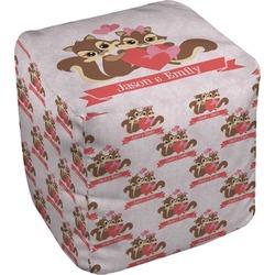 Chipmunk Couple Cube Pouf Ottoman (Personalized)