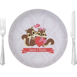 """Chipmunk Couple 10"""" Glass Lunch / Dinner Plates - Single or Set (Personalized)"""