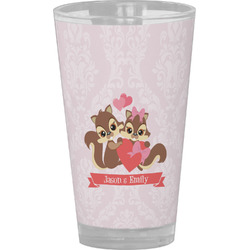 Chipmunk Couple Drinking / Pint Glass (Personalized)