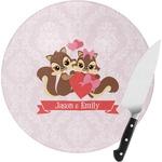 Chipmunk Couple Round Glass Cutting Board (Personalized)