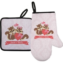 Chipmunk Couple Oven Mitt & Pot Holder (Personalized)