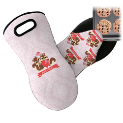 Chipmunk Couple Neoprene Oven Mitts w/ Couple's Names
