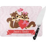 Chipmunk Couple Rectangular Glass Cutting Board (Personalized)