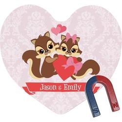 Chipmunk Couple Heart Fridge Magnet (Personalized)