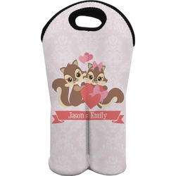 Chipmunk Couple Wine Tote Bag (2 Bottles) (Personalized)