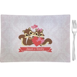 Chipmunk Couple Glass Rectangular Appetizer / Dessert Plate - Single or Set (Personalized)
