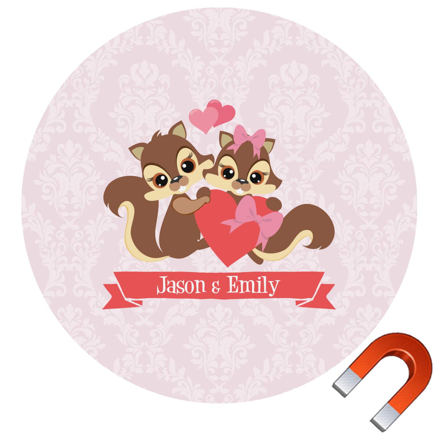 Chipmunk Couple Round Car Magnet  Personalized You - Make a custom car magnet