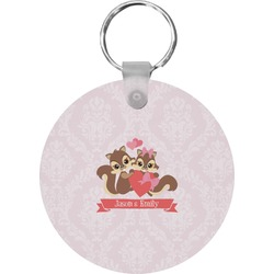 Chipmunk Couple Round Keychain (Personalized)