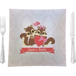 """Chipmunk Couple 9.5"""" Glass Square Lunch / Dinner Plate- Single or Set of 4 (Personalized)"""