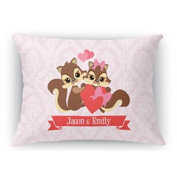 Chipmunk Couple Rectangular Throw Pillow Case (Personalized)