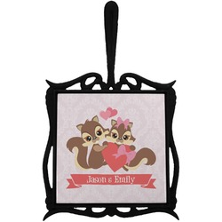 Chipmunk Couple Trivet with Handle (Personalized)