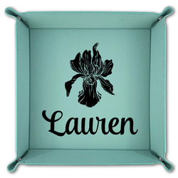 Orchids Teal Faux Leather Valet Tray (Personalized)