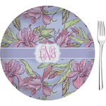 "Orchids Glass Appetizer / Dessert Plates 8"" - Single or Set (Personalized)"