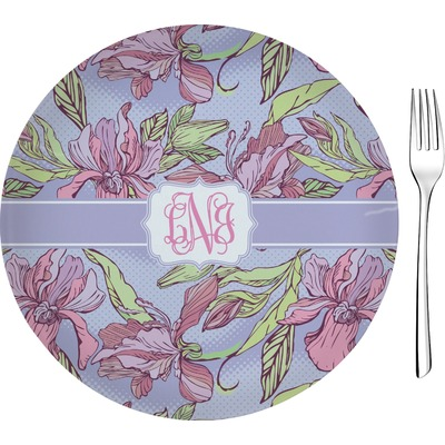 """Orchids 8"""" Glass Appetizer / Dessert Plates - Single or Set (Personalized)"""