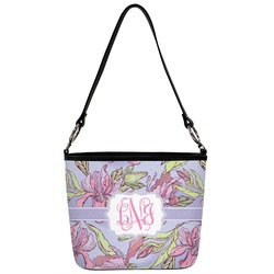 Orchids Bucket Bag w/ Genuine Leather Trim (Personalized)