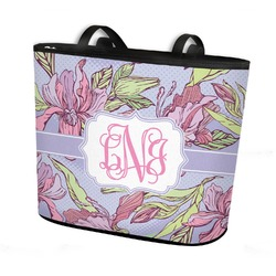 Orchids Bucket Tote w/ Genuine Leather Trim (Personalized)