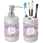 Orchids Bathroom Accessories Set (Ceramic) (Personalized)