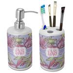 Orchids Bathroom Accessories Set (Ceramic) (Personalized)