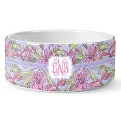 Orchids Ceramic Dog Bowl (Personalized)