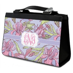 Orchids Classic Tote Purse w/ Leather Trim (Personalized)