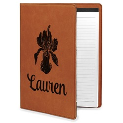 Orchids Leatherette Portfolio with Notepad (Personalized)