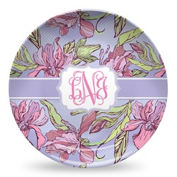 Orchids Microwave Safe Plastic Plate - Composite Polymer (Personalized)
