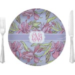 """Orchids Glass Lunch / Dinner Plates 10"""" - Single or Set (Personalized)"""