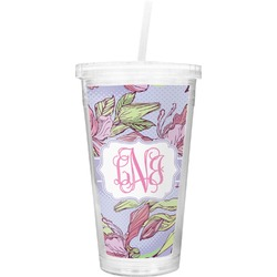 Orchids Double Wall Tumbler with Straw (Personalized)