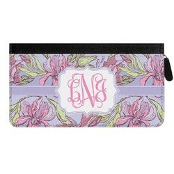 Orchids Genuine Leather Ladies Zippered Wallet (Personalized)