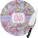 Orchids Round Glass Cutting Board (Personalized)
