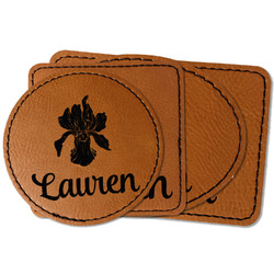 Orchids Faux Leather Iron On Patch (Personalized)