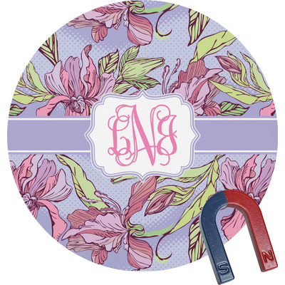 Orchids Round Fridge Magnet (Personalized)