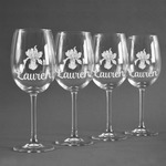 Orchids Wine Glasses (Set of 4) (Personalized)