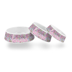 Orchids Plastic Dog Bowl (Personalized)