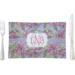 Orchids Glass Rectangular Lunch / Dinner Plate - Single or Set (Personalized)