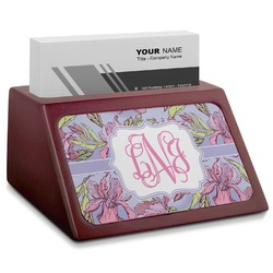 Orchids Red Mahogany Business Card Holder (Personalized)