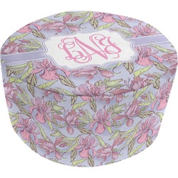 Orchids Round Pouf Ottoman (Personalized)
