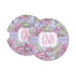 Orchids Sandstone Car Coasters (Personalized)