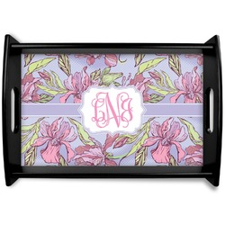 Orchids Black Wooden Tray (Personalized)