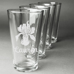 Orchids Beer Glasses (Set of 4) (Personalized)