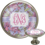 Orchids Cabinet Knob (Silver) (Personalized)