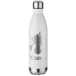 Orchids White Water Bottle - 26 oz. Stainless Steel (Personalized)