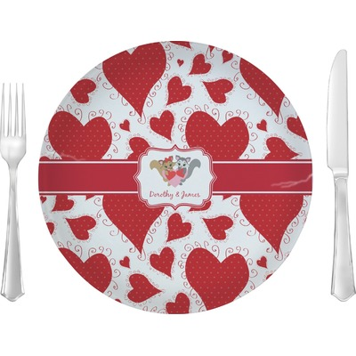 """Cute Squirrel Couple 10"""" Glass Lunch / Dinner Plates - Single or Set (Personalized)"""