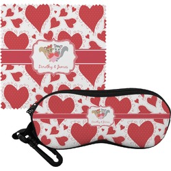 Cute Raccoon Couple Eyeglass Case & Cloth (Personalized)
