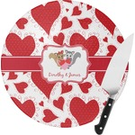 Cute Raccoon Couple Round Glass Cutting Board (Personalized)