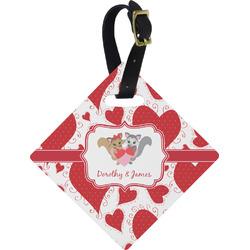Cute Raccoon Couple Diamond Luggage Tag (Personalized)