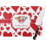 Cute Raccoon Couple Rectangular Glass Cutting Board (Personalized)